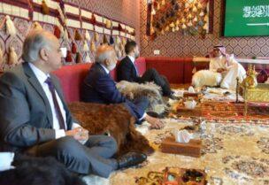 Saudi ambassador receiving delegations in his tent in Yarzeh