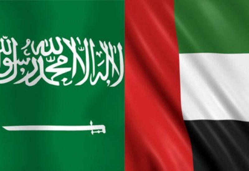 Saudi and Emirati flags