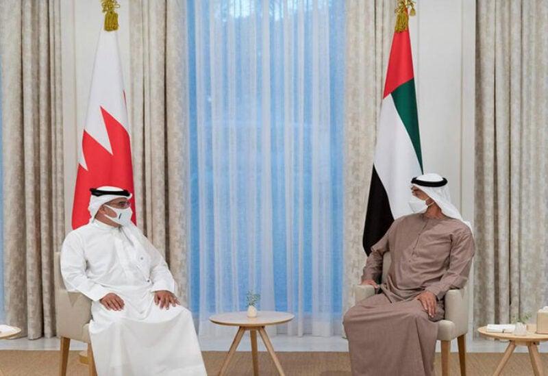 Sheikh Mohamed bin Zayed, Crown Prince of Abu Dhabi welcomes Bahrain's Crown Price bin Hamad