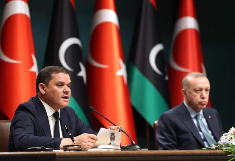 Turkish President Recep Tayyip Erdogan (R) and Libyan Government of National Unity Prime Minister Abdul Hamid Dbeibeh