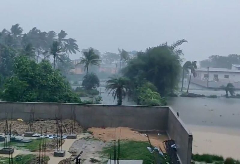 A general view shows flooding as Cyclone Yaas approaches Bhadrak, Odisha, India, May 26, 2021, in this still image taken from video obtained from social media. Mandatory credit AHMER JAWED/via REUTERS