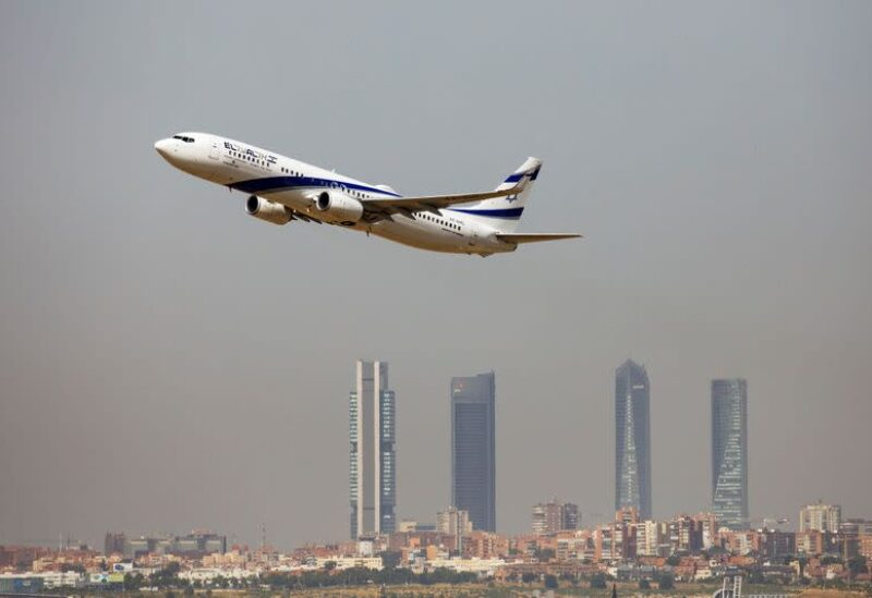 An El Al Israel Airlines Boeing 737-900ER airplane takes off from the Adolfo Suarez Madrid-Barajas airport as seen from Paracuellos del Jarama, outside Madrid, Spain, August 8, 2018. REUTERS