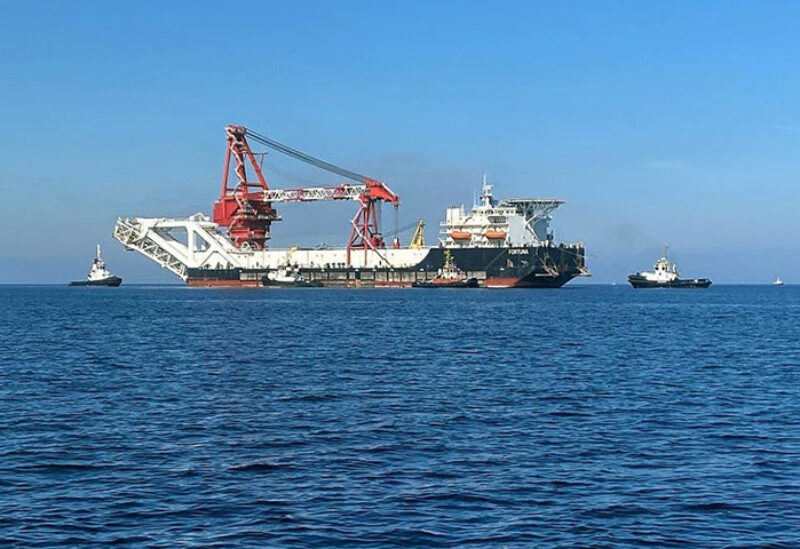 File photo: Pipe-laying vessel Fortuna makes its way to Wismar, Germany