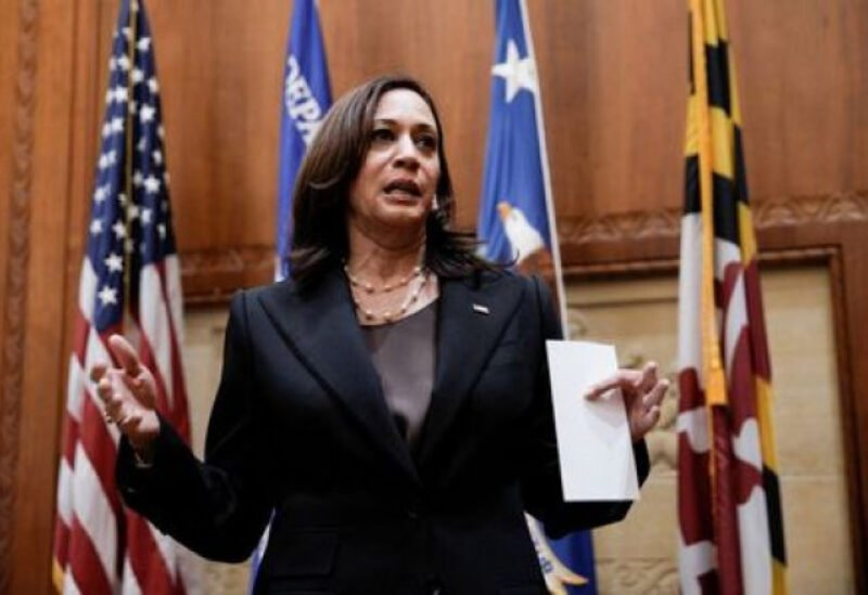 U.S. Vice President Kamala Harris speaks after ceremonially swearing in Kristen Clarke as Assistant Attorney General for the Civil Rights Division at the Department of Justice in Washington, U.S., May 25, 2021. REUTERS