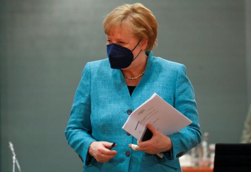 German Chancellor Angela Merkel arrives for the weekly cabinet meeting at the Chancellery in Berlin, Germany, May 19, 2021. REUTERS