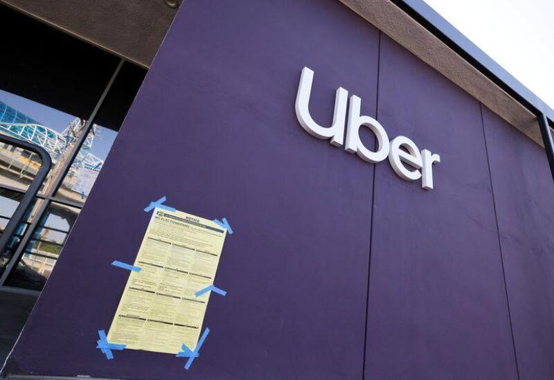 An Uber logo is seen during the global outbreak of the coronavirus disease (COVID-19), in Redondo Beach, Los Angeles, California, U.S., November 2, 2020. REUTERS