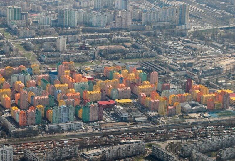An aerial view shows apartment blocks in Kyiv, Ukraine, April 3, 2021. REUTERS
