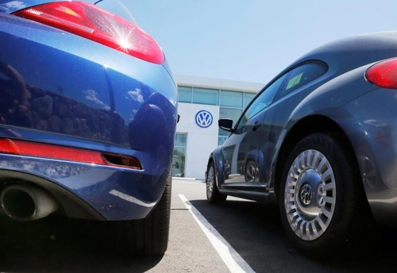 New Volkswagen vehicles are parked with their exhaust pipes facing the street at a dealership in Medford, Massachusetts, U.S., June 15, 2016. REUTERS