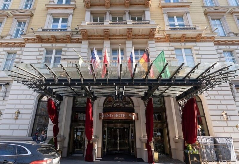 The 'Grand Hotel Wien' in Vienna, Austria, April 9, 2021 where closed-door nuclear talks with Iran take place. (AP)
