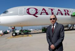 A file photo shows Qatar Airways CEO Akbar al-Baker poses in front of an Airbus A350-1000 at the Eurasia Airshow in the Mediterranean resort city of Antalya, Turkey, on April 25, 2018. (Reuters)