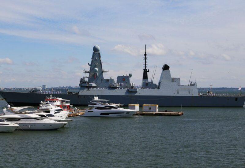 British Royal Navy's Type 45 destroyer HMS Defender arrives at the Black Sea port of Odessa, Ukraine June 18, 2021. REUTERS/Sergey Smolentsev