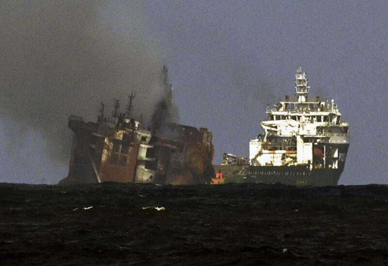 Container vessel is about to sink in Sri Lanka