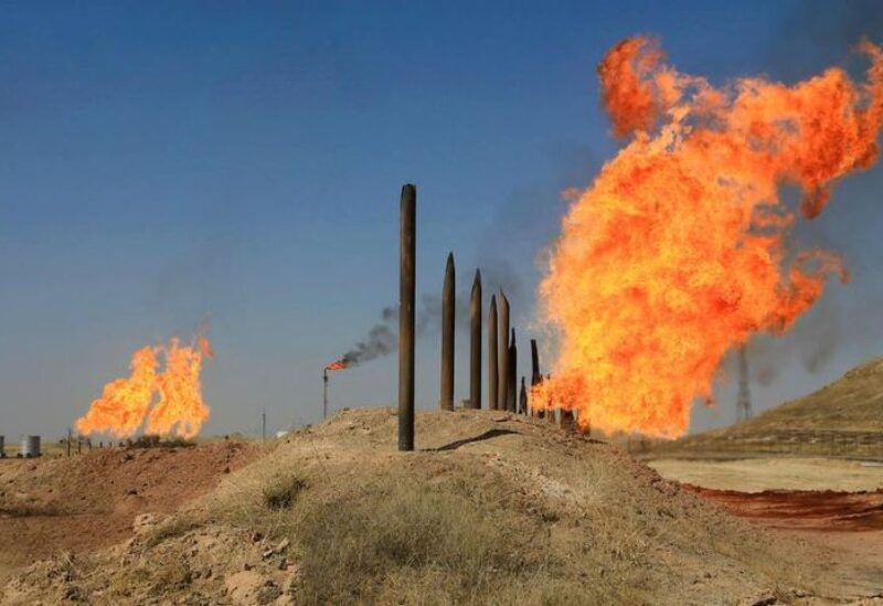 Fires flare off the gas from in Kirkuk, Iraq,