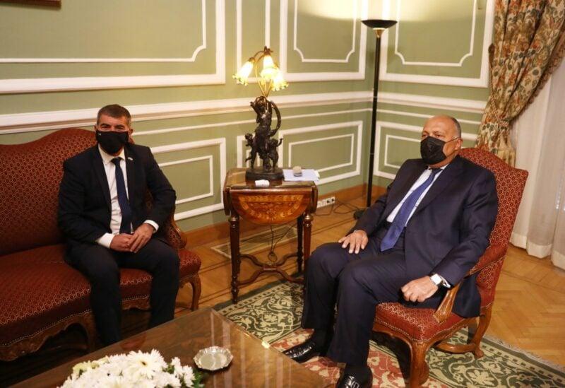 Israeli Foreign Minister Gabi Ashkenazi with his Egyptian counterpart Sameh Shoukry