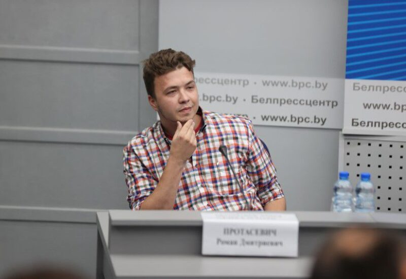 Jailed Belarus journalist Roman Protasevich takes part in a press conference about the forced landing of the Ryanair passenger plane on which he was travelling, in Minsk, Belarus June 14, 2021. Ramil Nasibulin/BelTA/Handout via REUTERS