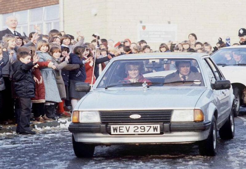 Lady Diana in her Ford Escort Car