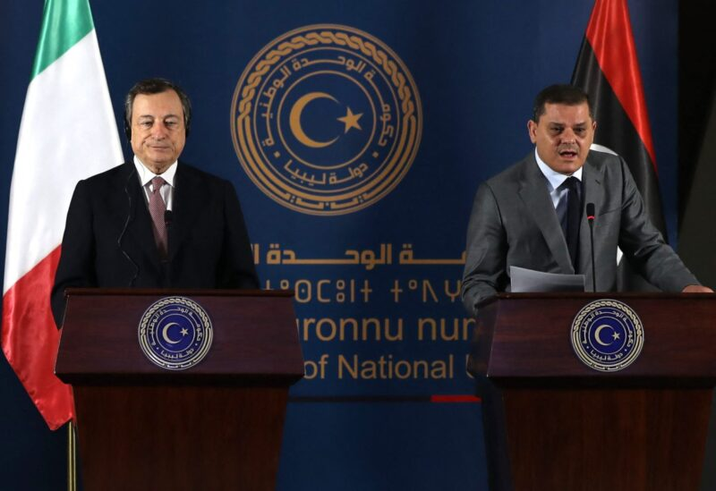 Libya's interim prime minister Abdul Hamid Dbeibah and Italian Prime Minister Mario Draghi