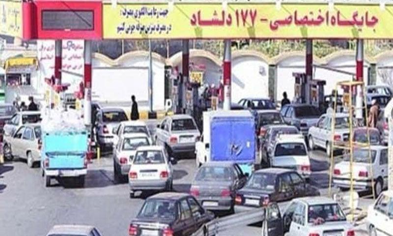Queues of cars in Tehran