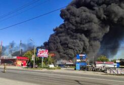 Russian petrol station on fire