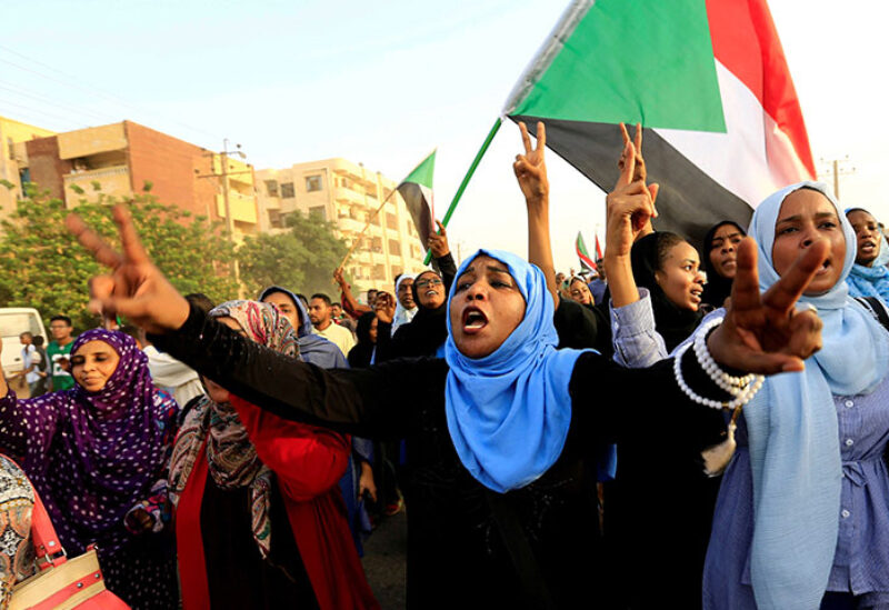 Sudanese take part in a march against the Rapid Support Forces
