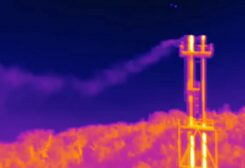 A screen grab of Clean Air Task Force's thermographic video shows Snam venting hydrocarbons its Panigaglia LNG terminal.PHOTO: REUTERS