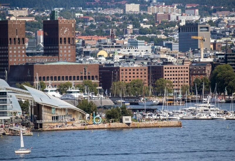 The Oslo town hall is seen on the waterfront in the Norwegian capital on July 25, 2020. (AFP)