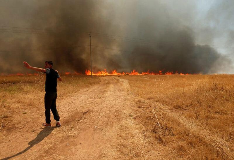 fire in wheat plain in Jeb Jennine