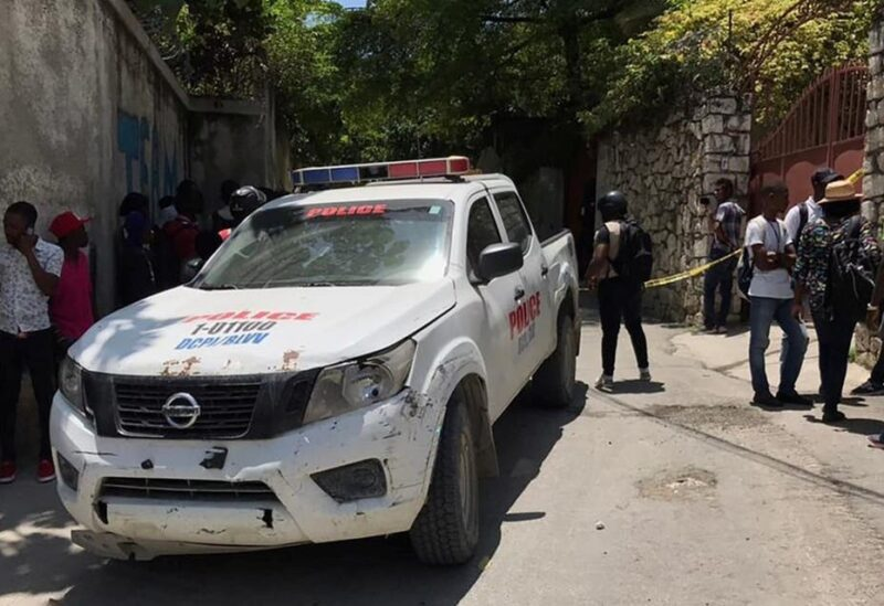 A police vehicle near the residence of the Haitian president in Port-au-Perts on July 7, 2021. (Reuters)