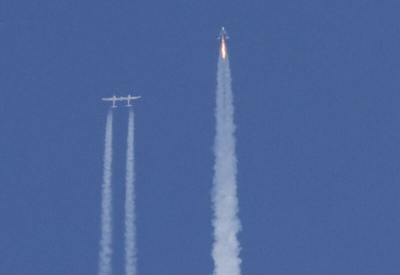 Virgin Galactic's passenger rocket plane VSS Unity, carrying billionaire entrepreneur Richard Branson and his crew, begins its ascent to the edge of space above Spaceport America near Truth or Consequences, New Mexico, U.S., July 11, 2021. REUTERS/Joe Skipper