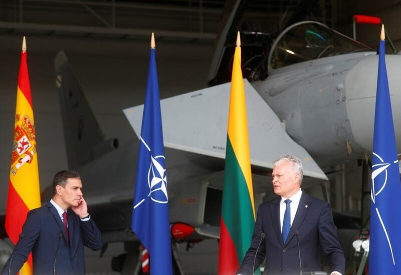 Spanish Prime Minister Pedro Sanchez and Lithuanian President Gitanas Nauseda attend a news conference in Siauliai air base, Lithuania, on July 8, 2021. (Reuters)