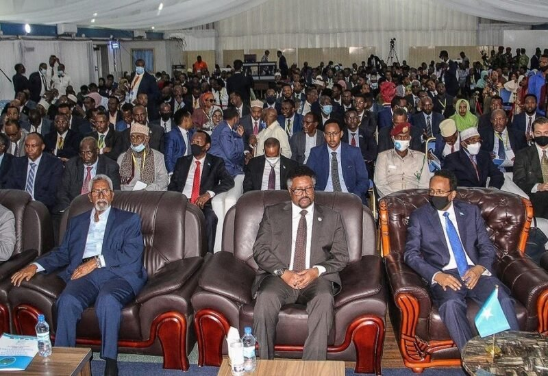 Somalia's President Mohamed Abdullahi Mohamed (R) attends a closing ceremony after reaching an agreement with state leaders over the terms of a new election, at the National Consultative Council on Elections in Mogadishu, Somalia, on May 27, 2021. (AFP)