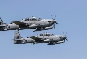 A-29 Super Tucano military aircrafts fly over targets during a drill. (File photo: AFP)