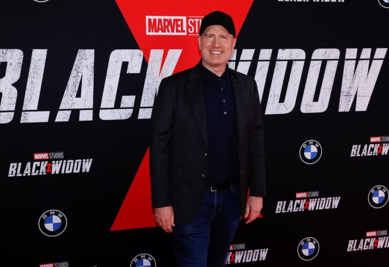 Producer and President of Marvel Studios Kevin Feige poses as he attends a fan event and special screening of the film Black Widow at El Capitan theatre in Los Angeles, California, US, June 29, 2021. (Reuters)