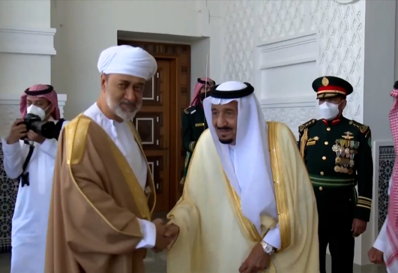 """Saudi Arabia's King Salman bin Abdulaziz received Oman's Sultan Haitham bin Tariq at the Neom Palace on Sunday for the first official visit between the two leaders since the COVID-19 outbreak began. Sultan Haitham was greeted at the Neom Bay Airport by Crown Prince Mohammed bin Salman ahead of his two-day visit. For the latest headlines, follow our Google News channel online or via the app. Upon his arrival, the Saudi Falcons put on an air show where they painted the Omani flag onto the sky above. Sultan Haitham was accompanied by a large delegation, which included: Deputy Prime Minister for Defense Affairs Sayyid Shihab bin Tarik al-Said, Minister of the Diwan of Royal Court Sayyid Khalid bin Hilal bin Saud al-Busaidi, Minister of Royal Office Gen. Sultan bin Mohammed al-Nuamani, Minister of Interior Sayyid Hamoud bin Faisal al-Busaidi, and Foreign Minister Sayyid Badr bin Hamad bin Hamoud al-Busaidi. King Salman had extended an invitation to the Omani leader to hold bilateral talks aimed at """"strengthen[ing] the deep historical bonds"""" between the two Gulf countries and """"explor[ing] new areas of cooperation – particularly in the fields of trade, infrastructure, and development,"""" the Saudi Press Agency (SPA) reported. """"The visit comes within the framework of strengthening the historical and fraternal relations between the leaderships of the two countries,"""" SPA said. """"It also aims to expand the prospects of joint cooperation and ways to develop them in various fields for the interest and steady progress of the peoples of the two countries,"""" the statement carried by SPA added."""