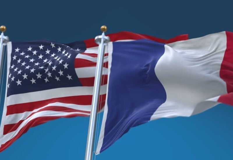 American and French flags