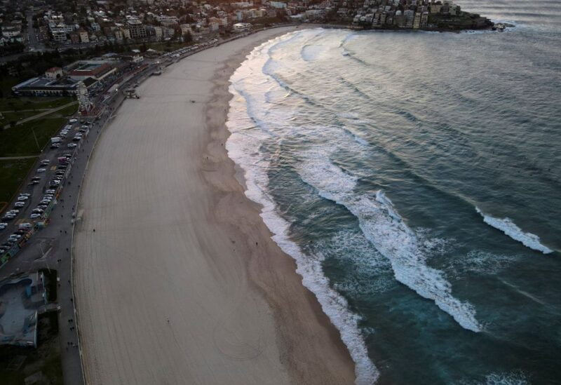 A quiet Bondi Beach is seen during a lockdown to curb the spread of the coronavirus disease (COVID-19) in Sydney, Australia, July 5, 2021. Picture taken with a drone. REUTERS/Jill Gralow
