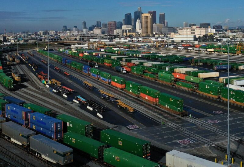 Shipping containers sit on train tracks downtown as the spread of the coronavirus disease (COVID-19) continues, in Los Angeles, California, U.S., April 7, 2020. REUTERS/Lucy Nicholson