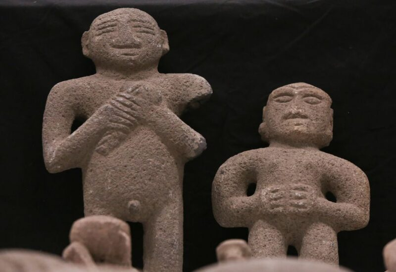 Pre-Columbian stone statues, repatriated from the Brooklyn Museum in New York, U.S., are displayed for its classification by archaeologists at the facilities of the Costa Rica's National Museum, in Pavas, Costa Rica July 2, 2021. Picture taken July 2, 2021. REUTERS/Mayela Lopez