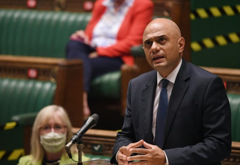 Britain's Secretary of State for Health and Social Care Sajid Javid gives a statement on the coronavirus disease (COVID-19) update during a session in Parliament, in London, Britain July 12, 2021. (Reuters)