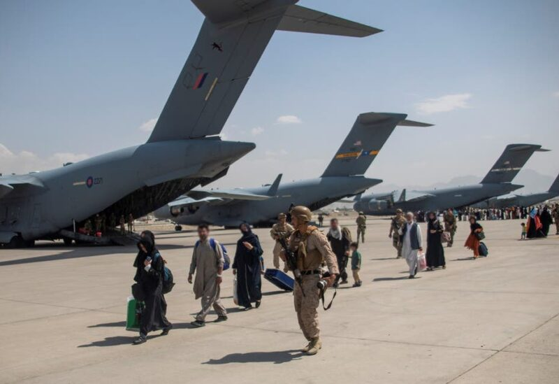 Members of the UK Armed Forces continue to take part in the evacuation of entitled personnel from Kabul airport, in Kabul, Afghanistan August 19-22, 2021, in this handout picture obtained by Reuters on August 23, 2021. (Reuters)