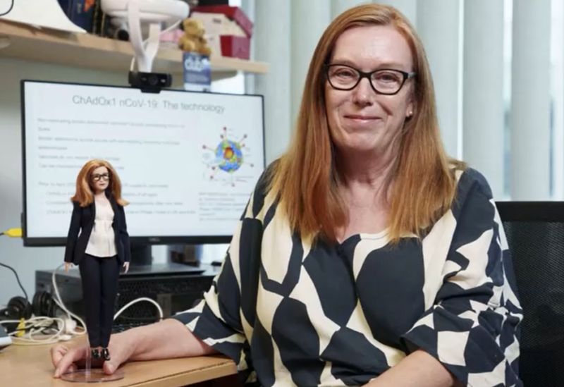Professor Dame Sarah Gilbert, the scientist behind the Oxford-AstraZeneca COVID-19 vaccine, with her Barbie doll. (Reuters)