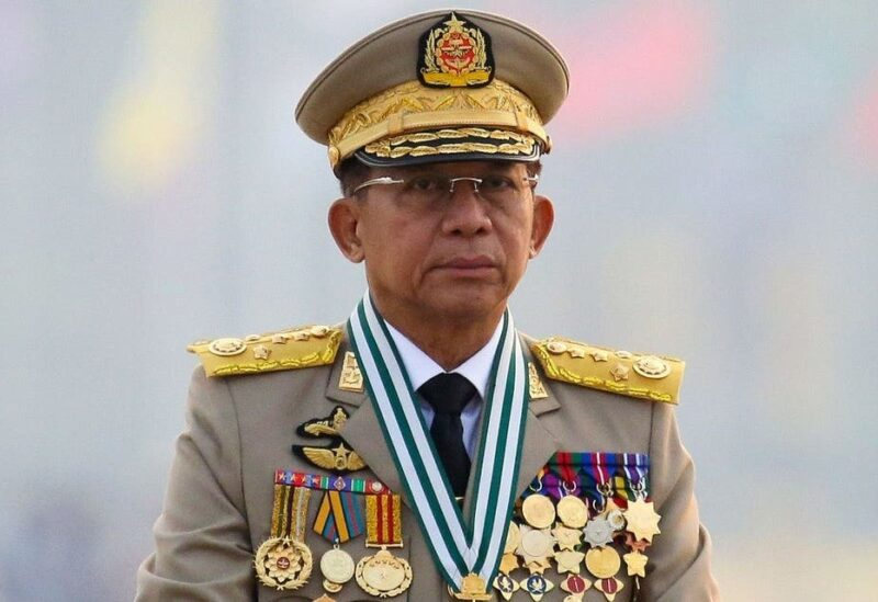 Myanmar's junta chief Senior General Min Aung Hlaing, who ousted the elected government in a coup on February 1, presides an army parade on Armed Forces Day in Naypyitaw, Myanmar, March 27, 2021. (Reuters)