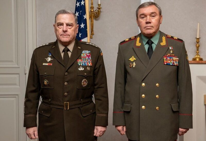 Chairman of the Joint Chiefs of Staff Gen. Mark A. Milley (L) meets with Chief of Russian General Staff Gen. Valery Gerasimov in Helsinki, Sept. 22, 2021. (AFP)