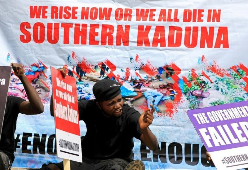 People gather to protest killings in southern Kaduna and insecurities in Nigeria, at the U.S. embassy in Abuja, Nigeria. (File photo: Reuters)