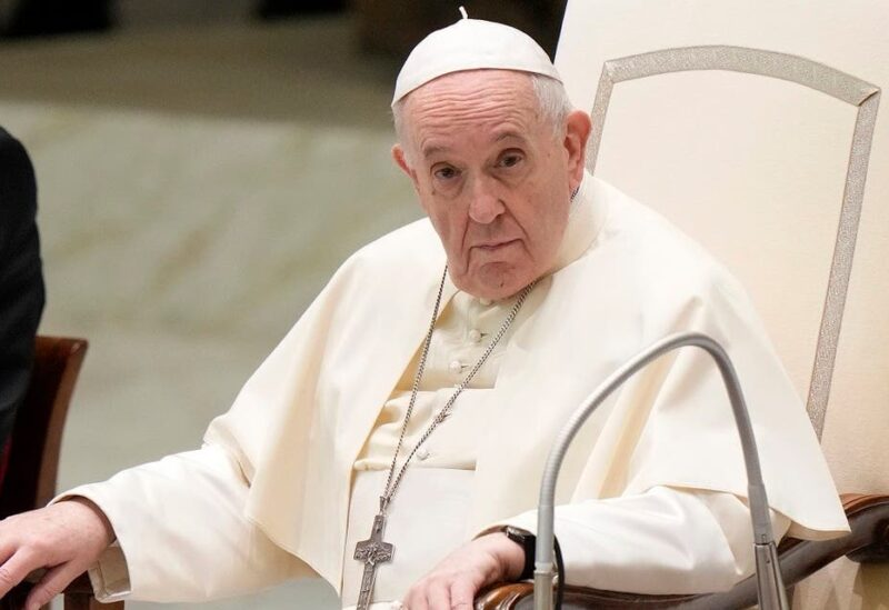 Pope Francis attends his weekly general audience, held in the Paul VI hall, at the Vatican, on Sept. 1, 2021. (AP)
