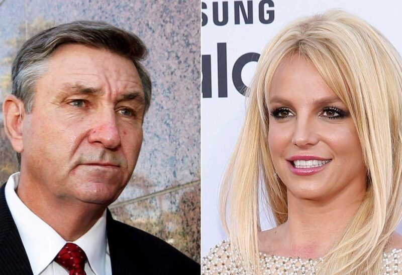 Jamie Spears, father of singer Britney Spears, leaves the Stanley Mosk Courthouse in Los Angeles on Oct. 24, 2012, left, and Britney Spears arrives at the Billboard Music Awards in Las Vegas on May 17, 2015. (AP)