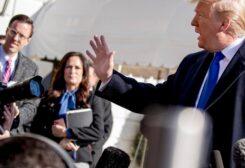 White House deputy press secretary Judd Deere, left, and White House press secretary Stephanie Grisham, second from left, listens as President Donald Trump speaks, Nov. 8, 2019. (AP)