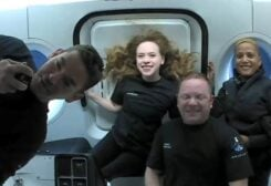 Inspiration4 crew Jared Isaacman, Sian Proctor, Hayley Arceneaux, and Chris Sembroski, seen on their first day in space in this handout photo released on September 17, 2021. (Reuters)