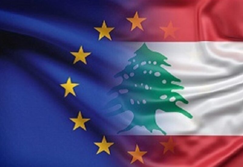 European Union and Lebanese flags