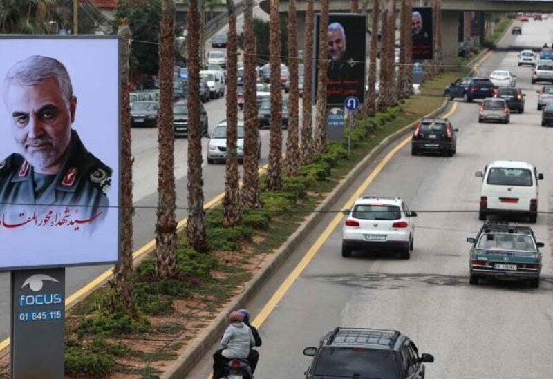 Photos of Qassem Soleimani on the airport road in Lebanon